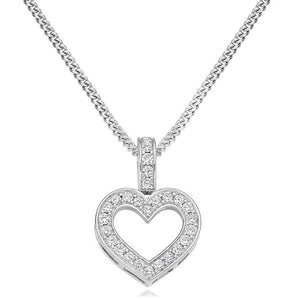 950 Palladium & Diamond Grain Set Heart Pendant 0.30 CTW Pobjoy Diamonds