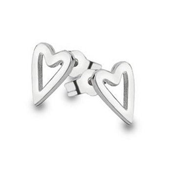 9K White Gold Elongated Heart Shape Earrings