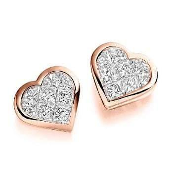 18K rose gold and diamond heart stud earrings from Pobjoy Diamonds