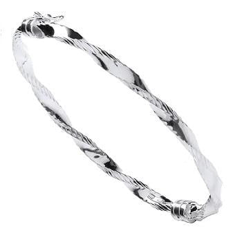 Pobjoy Sterling Silver Ladies Hinged Bangle