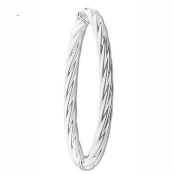 Silver Hollow Twisted Hinged Bangle - Pobjoy Diamonds