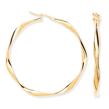 9K Gold Hollow Twisted Hoop Earrings Mid Size