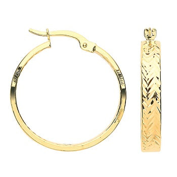 9K Gold Textured Hoop Earrings Mid Size