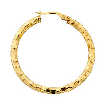 9K Gold Fancy Hoop Earrings Mid Size