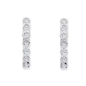 9K White Gold Small Diamond Hoop Earrings 0.10 CTW