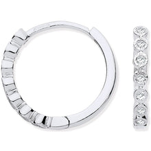 Load image into Gallery viewer, 9K White Gold Small Diamond Hoop Earrings 0.10 CTW