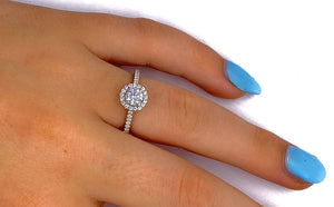 18K White Gold Round Brilliant Cut 1.40 Carat Diamond Halo Ring F/Si