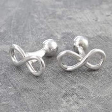 Load image into Gallery viewer, Handmade Sterling Silver Infinity Mens Cufflinks From Pobjoy Diamonds