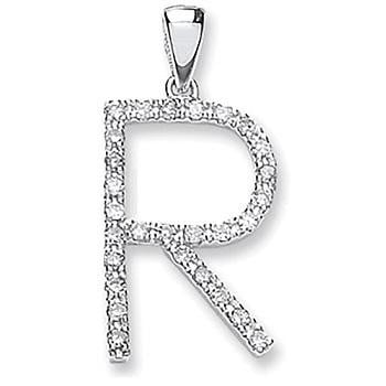 9K White Gold & Diamond Initial Pendant R From Pobjoy Diamonds