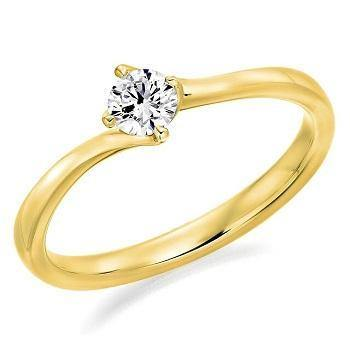 14K Gold 0.50 Carat Round Brilliant Cut Solitaire Lab Grown Diamond Ring I/VS2+ - Pobjoy Diamonds