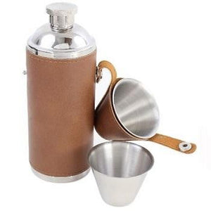 Pobjoy Steel Hip Flask & Two Cups