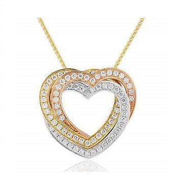 18K Rose, White & Yellow Gold & Diamond Heart Pendant Necklace 0.90 CTW - Pobjoy Diamonds