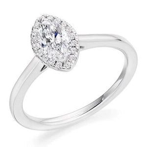 950 Platinum Marquise Cut 0.50 CTW Diamond & Halo Ring G/VS2 - Latina - Pobjoy Diamonds