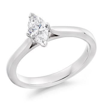 18K White Gold 0.50 Carat Marquise Solitaire Diamond Engagement Ring G/VS2 - Dorchester - Pobjoy Diamonds