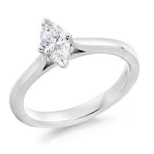 950 Platinum Marquise Cut 0.50 Carat Lab Grown Diamond Ring - F/VS2 - Pobjoy Diamonds