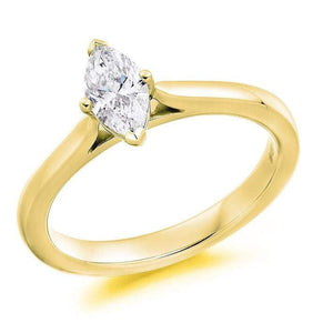 18K Yellow Gold 0.50 Carat Marquise Solitaire Diamond Engagement Ring H/Si1 - Dorchester - Pobjoy Diamonds