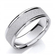 Load image into Gallery viewer, 9K White Gold Matt & Polished Wedding Band