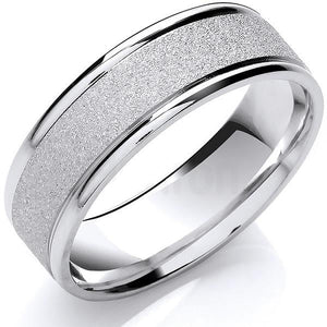 950 Platinum & Diamond 2mm Wedding Band & Mens 950 Platinum 5mm Band - Pobjoy Diamonds