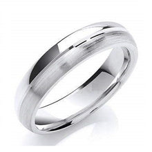 Load image into Gallery viewer, 18K White Gold Grooved Polished Wedding Band