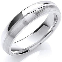 Load image into Gallery viewer, 18K White Gold Matt & Polished Wedding Band - Pobjoy Diamonds