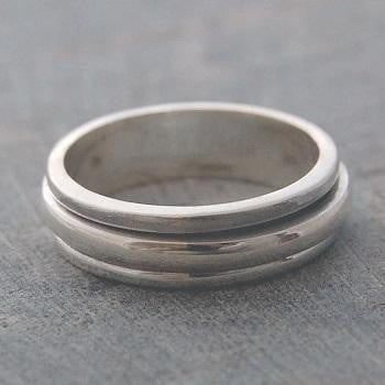 Mens Sterling Silver Spinning Ring From Pobjoy