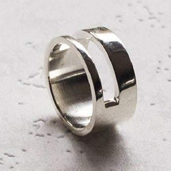 Men's Handmade Silver Duo Ring - Pobjoy Diamonds