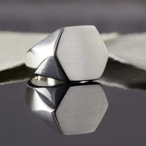 Handmade Mens Silver Hexagonal Ring - Pobjoy Diamonds