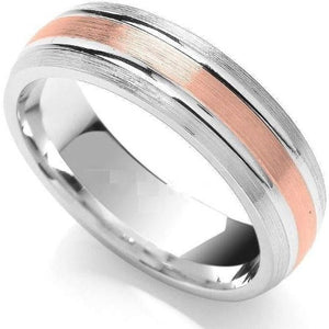 18K Gold/950 Platinum Two Colour Wedding Band 6mm - Pobjoy Diamonds
