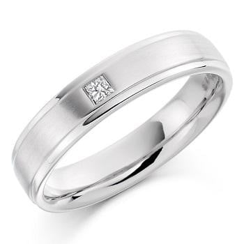 950 Platinum Gents 0.07 Carat Diamond Wedding/Civil Partnership Ring - Pobjoy Diamonds