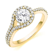 Load image into Gallery viewer, 18K Yellow Gold Diamond Halo & Shoulders Engagement Ring 1.50 CTW-Napoli - Pobjoy Diamonds