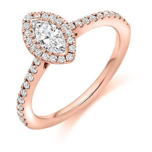 Pobjoy Marquise Cut 0.60 CTW Diamond Halo Ring D/VS Grade