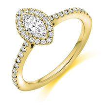 Load image into Gallery viewer, Pobjoy Marquise Cut 0.60 CTW Diamond Halo Ring D/VS Grade