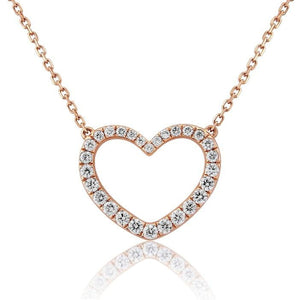 18K Rose Gold Diamond Heart Silhouette Necklace & Pendant 0.60 CTW - Pobjoy Diamonds