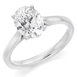 18K White Gold 1.59 Carat Oval Cut Diamond Solitaire Ring G/VS1