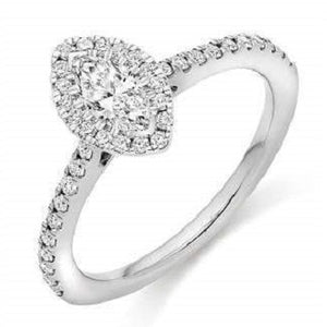 18K Gold Or Platinum Marquise Cut 1.10 CTW  Diamond Halo & Shoulder Engagement Ring F/VS2-Cosenza