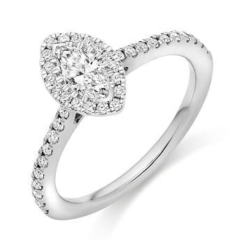 Marquise Cut 0.60 CTW Halo Diamond Engagement Ring  F/VS