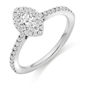 Pobjoy Marquise Cut 0.60 CTW Diamond Halo Ring