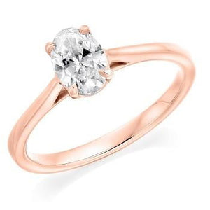 18K Rose Gold 0.70 Carat Oval Solitaire Diamond Engagement Ring G/VS2 - Amalfi - Pobjoy Diamonds