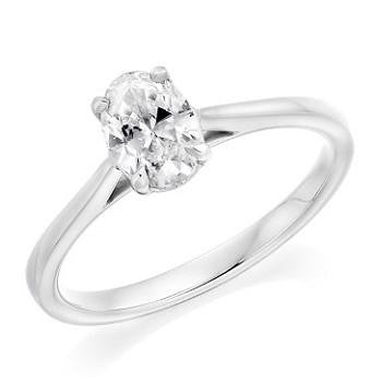 950 Platinum 1.00 Carat Oval Cut Lab Grown Diamond Ring F/VVS1 - Pobjoy Diamonds