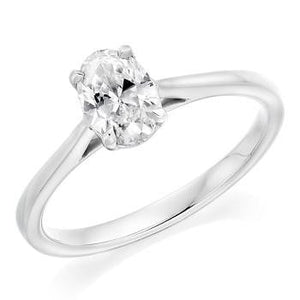 950 Palladium 0.70 Carat Oval Solitaire Diamond Engagement Ring G/VS2 - Amalfi - Pobjoy Diamonds