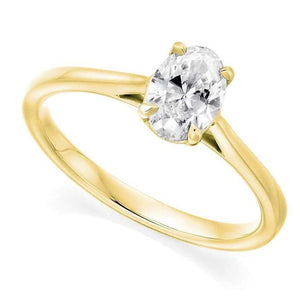 18K Yellow Gold 0.70 Carat Oval Solitaire Diamond Engagement Ring G/VS2 - Amalfi - Pobjoy Diamonds
