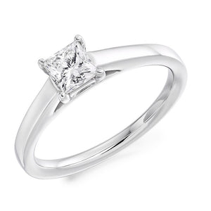 18K White Gold 0.50 Carat Princess Cut Solitaire Diamond Ring F/VS2 - Casablanca