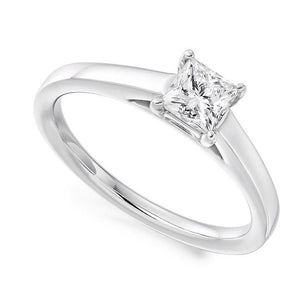 18K White Gold 0.40 Carat Princess Cut Solitaire Diamond Ring F/VS2 - Marrakech