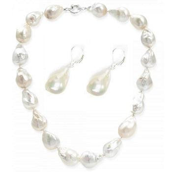 Fireball Freshwater Cultured Silver White Pearl Necklace & Earrings Set - Pobjoy Diamonds