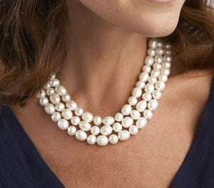 Triple Strand Freshwater Cultured Pearl Necklace & Silver Clasp
