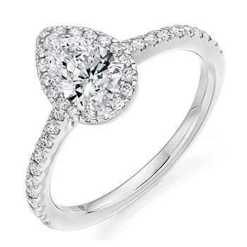 18K Gold Pear Shape Diamond Halo & Shoulder 0.85 CTW Ring - G/VS - Pobjoy Diamonds