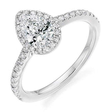 Load image into Gallery viewer, 950 Platinum Pear Shape Diamond Halo & Shoulder 0.85 CTW Ring - G/VS - Pobjoy Diamonds