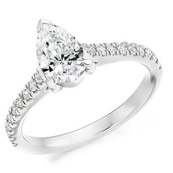 18K Gold Pear Shape Diamond & Shoulder 1.00 CTW Ring - G/Si - Pobjoy Diamonds