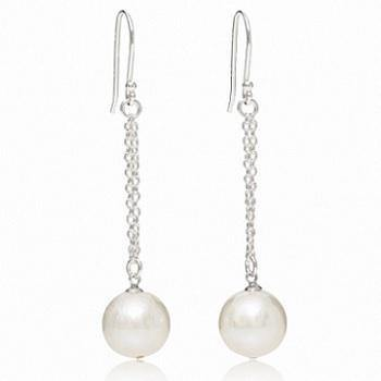Freshwater Cultured Pearl & Silver Chain Drop Earrings - Pobjoy Diamonds