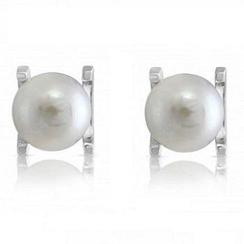 Freshwater Cultured Pearl Claw Set Stud Earrings - Pobjoy Diamonds